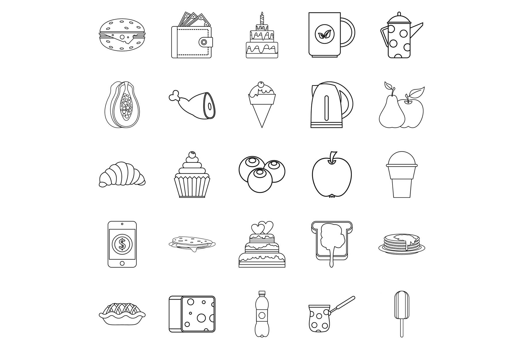 Street coffee house icons set, outline style example image 1