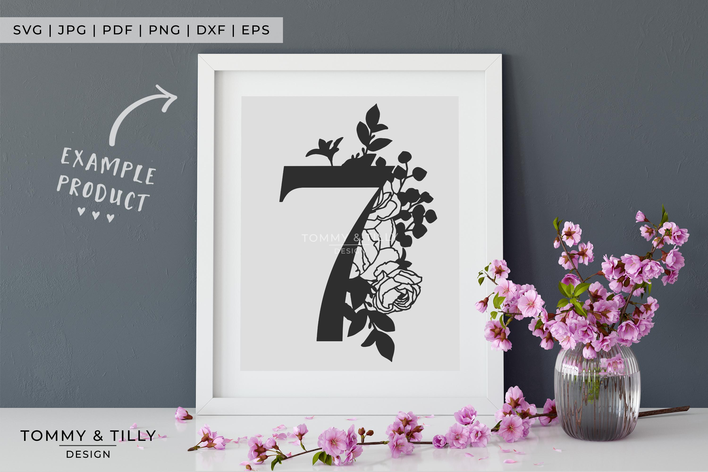 7 Floral Bouquet Number Design - Paper Cut SVG EPS DXF PNG example image 4
