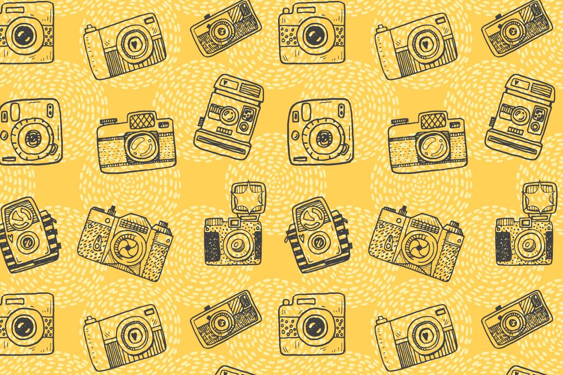 Hand drawn camera set +patterns example image 10
