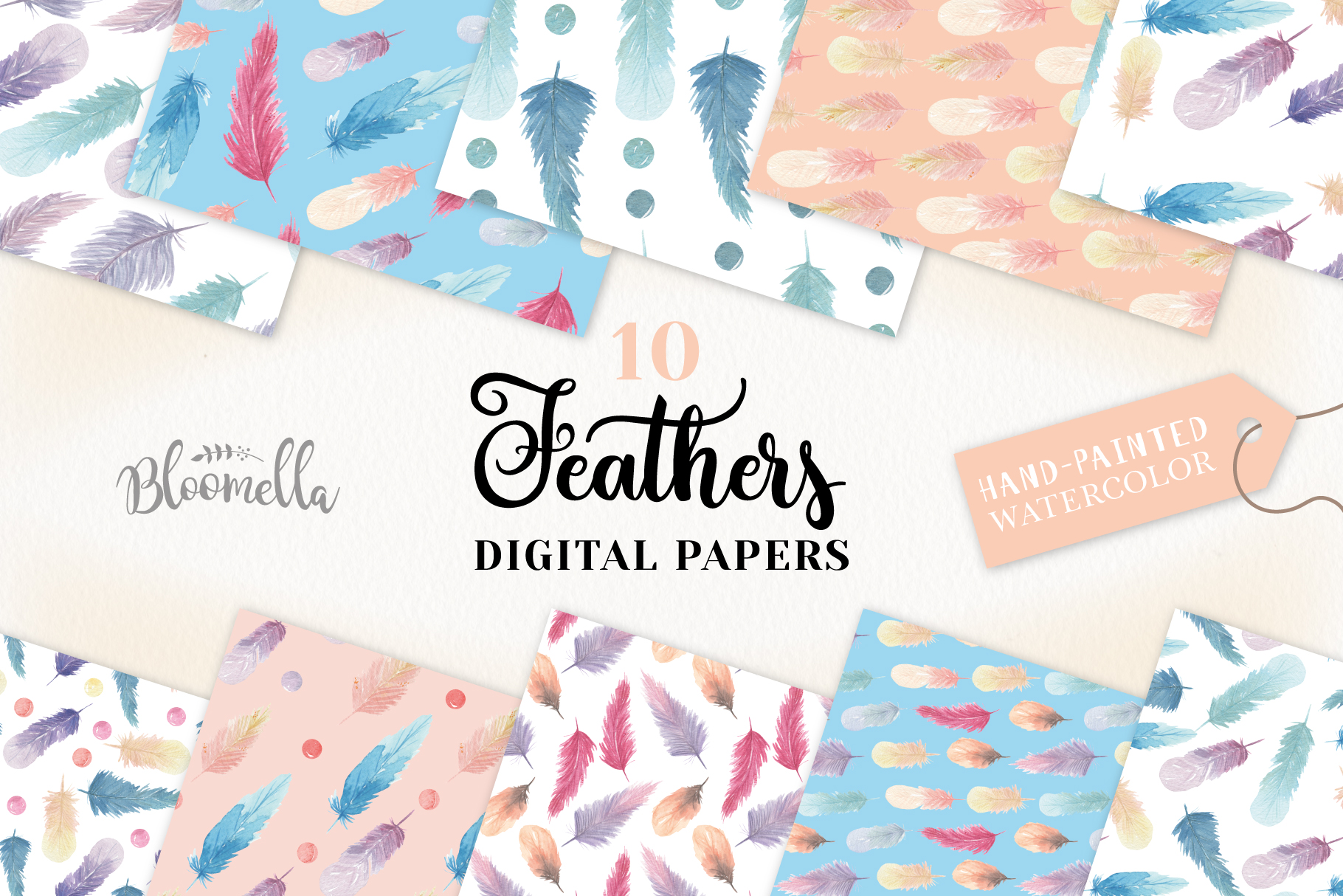 Feathers Seamless Patterns Digital Papers Beads Pretty example image 1