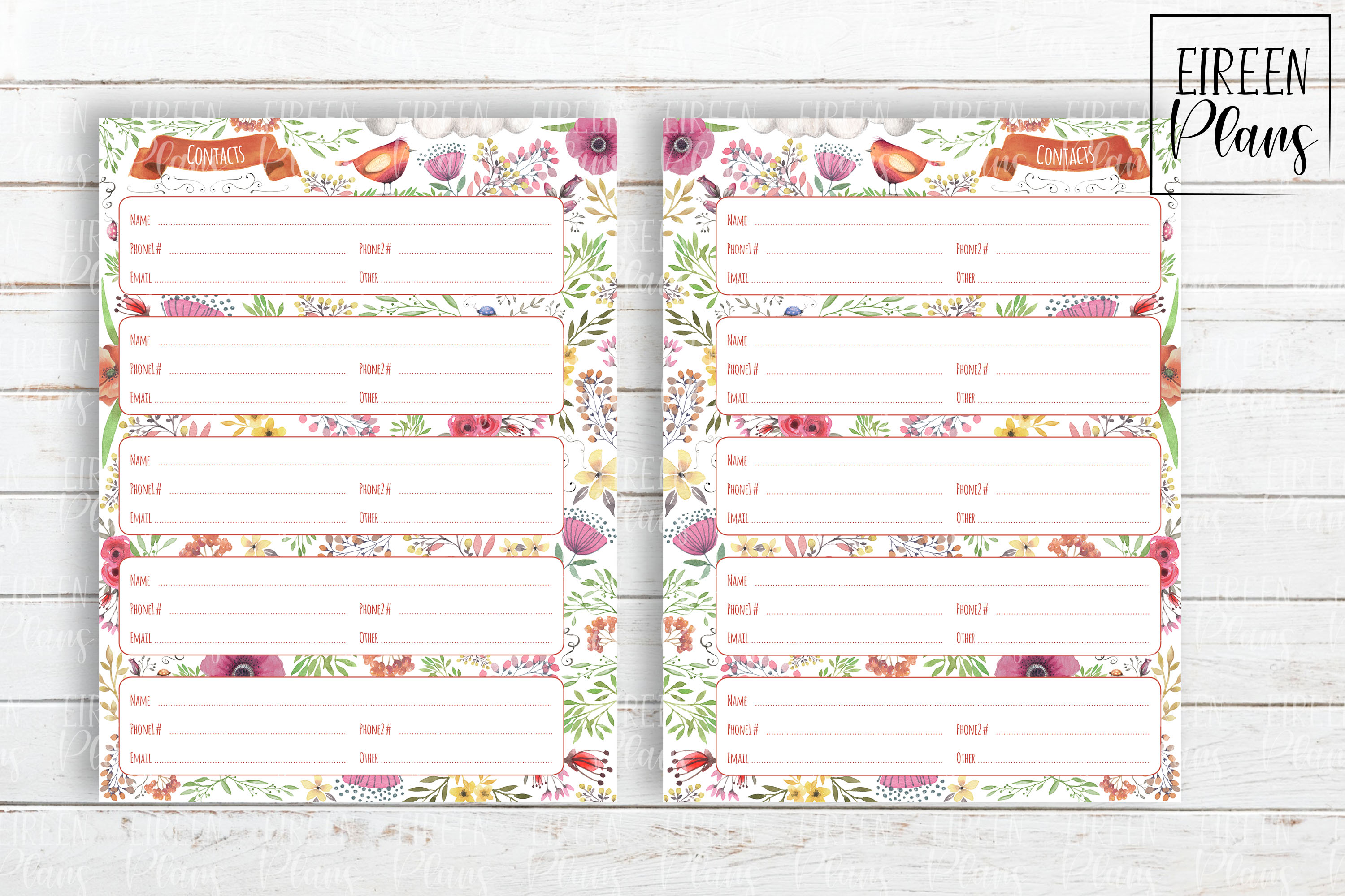 Contacts printable for Classic Happy Planner example image 2