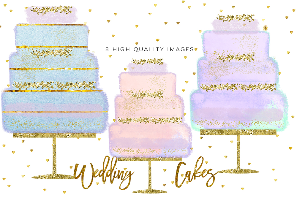 Wedding Clip Art, Hand Drawn bakery wedding cake clip art, Couture Cake, Hand Drawn Cake, Wedding cake party, pastel cake, wedding DIY example image 3