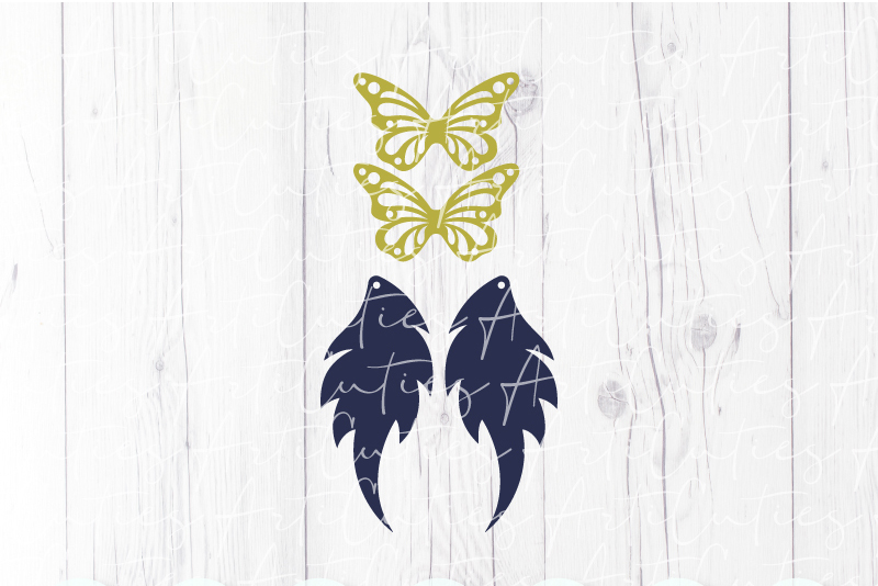 Butterfly earrings template SVG, DIY earrings template example image 2