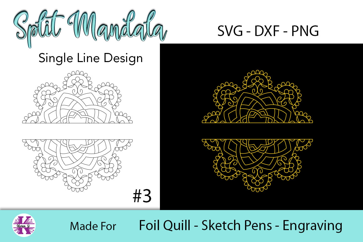 Split Mandala #3 for Foil Quill|Sketch Pen|Engraving example image 2