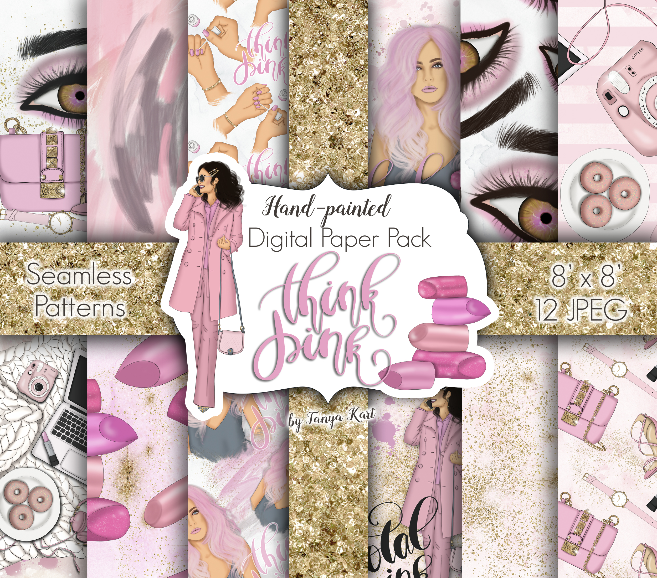 Think Pink Clipart & Patterns example image 2
