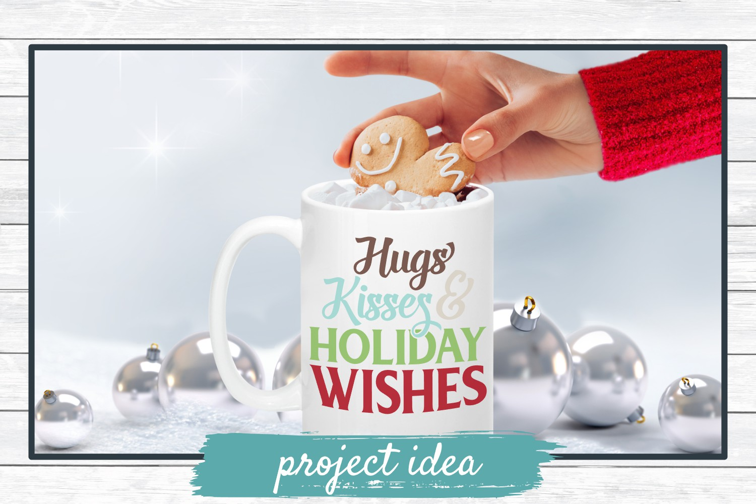 Hugs Kisses & Holiday Wishes, Winter Holiday SVG Cut File example image 2