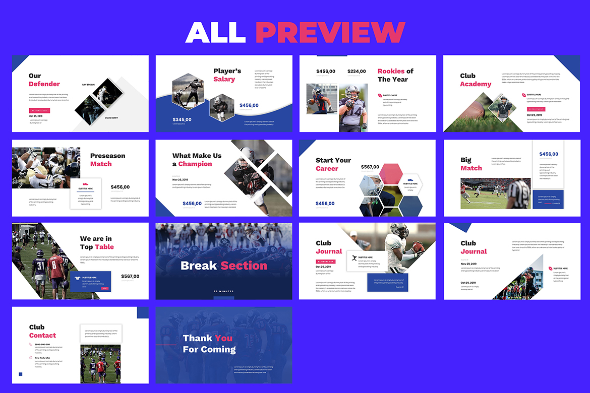 American Football Keynote Template example image 6