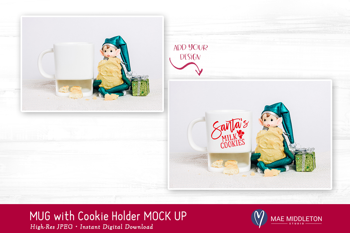 Christmas Mock Up - White Mug with Cookie Holder example image 3