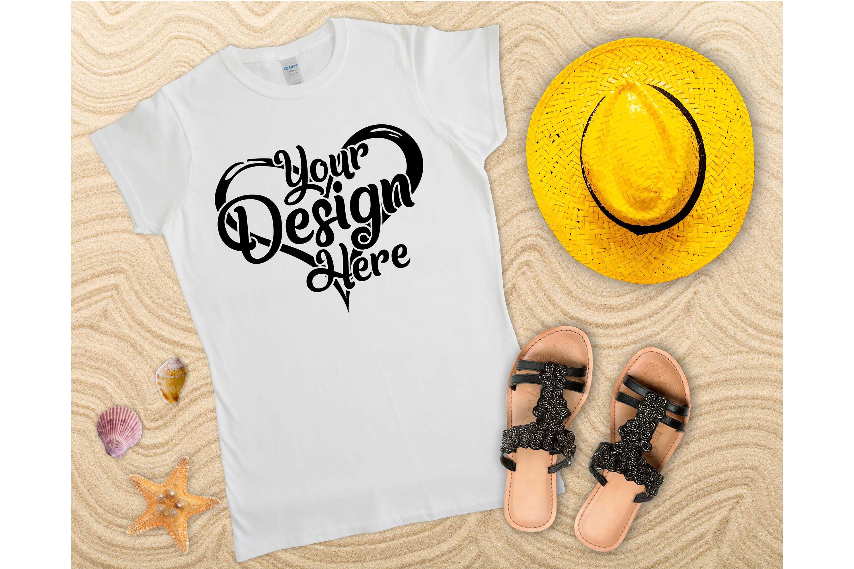 Gildan Ladies T-Shirt Mockup Bundle Flat Lay example image 7
