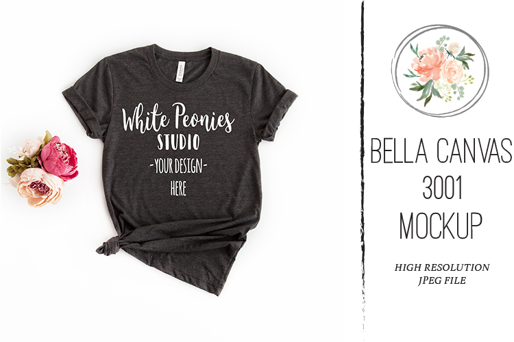 Heather Black Bella Canvas 3001 Shirt Mockup knotted example image 1