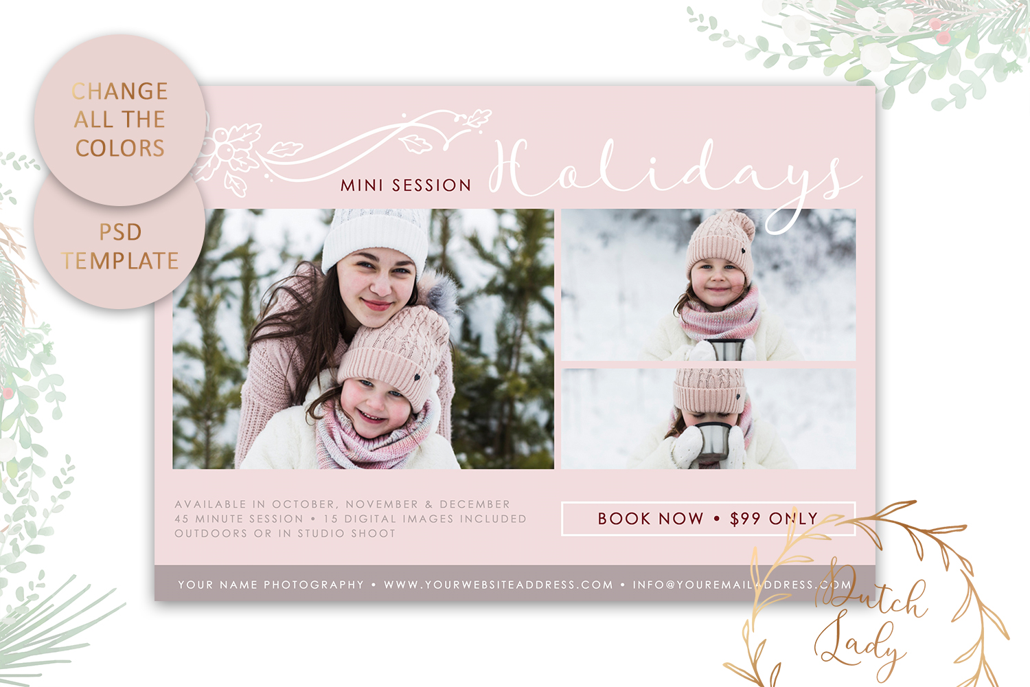 PSD Photo Mini Session Card Template - Design #21 example image 3