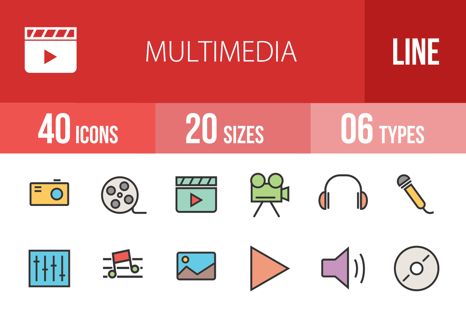 40 Multimedia Linear Multicolor Icons example image 1
