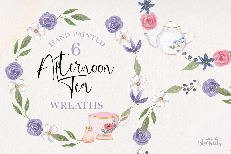 Afternoon Tea Wreaths Watercolor 6 Flowers Leaves Purple example image 1