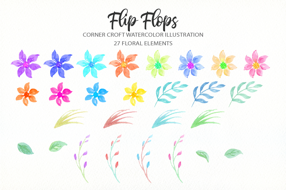 Watercolor flip flops clipart for instant download example image 3