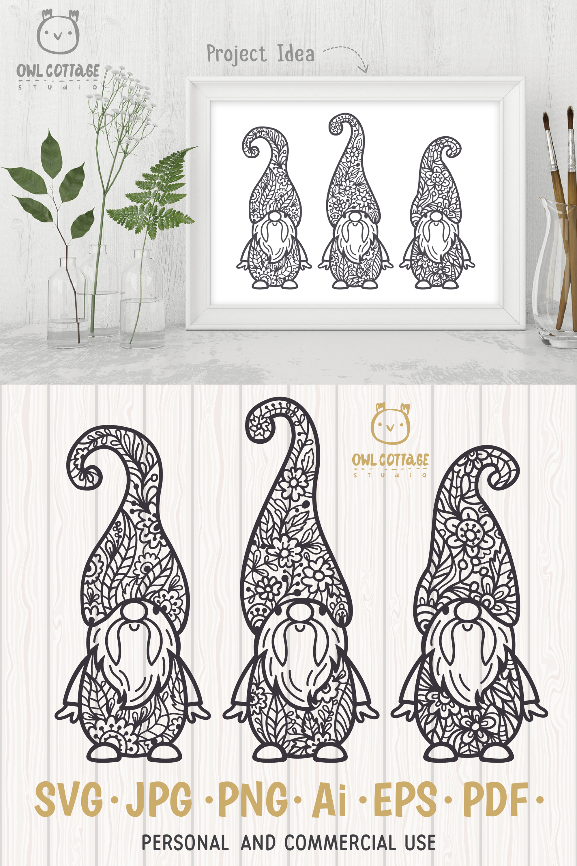 Scandinavian Floral Gnomes SVG, Gnome Clipart, Tomte example image 11