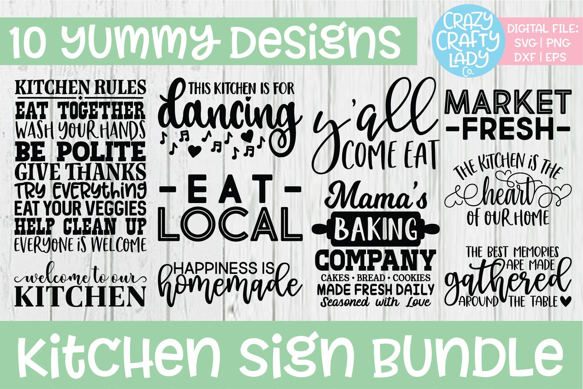 Kitchen Sign SVG DXF EPS PNG Cut File Bundle example image 1