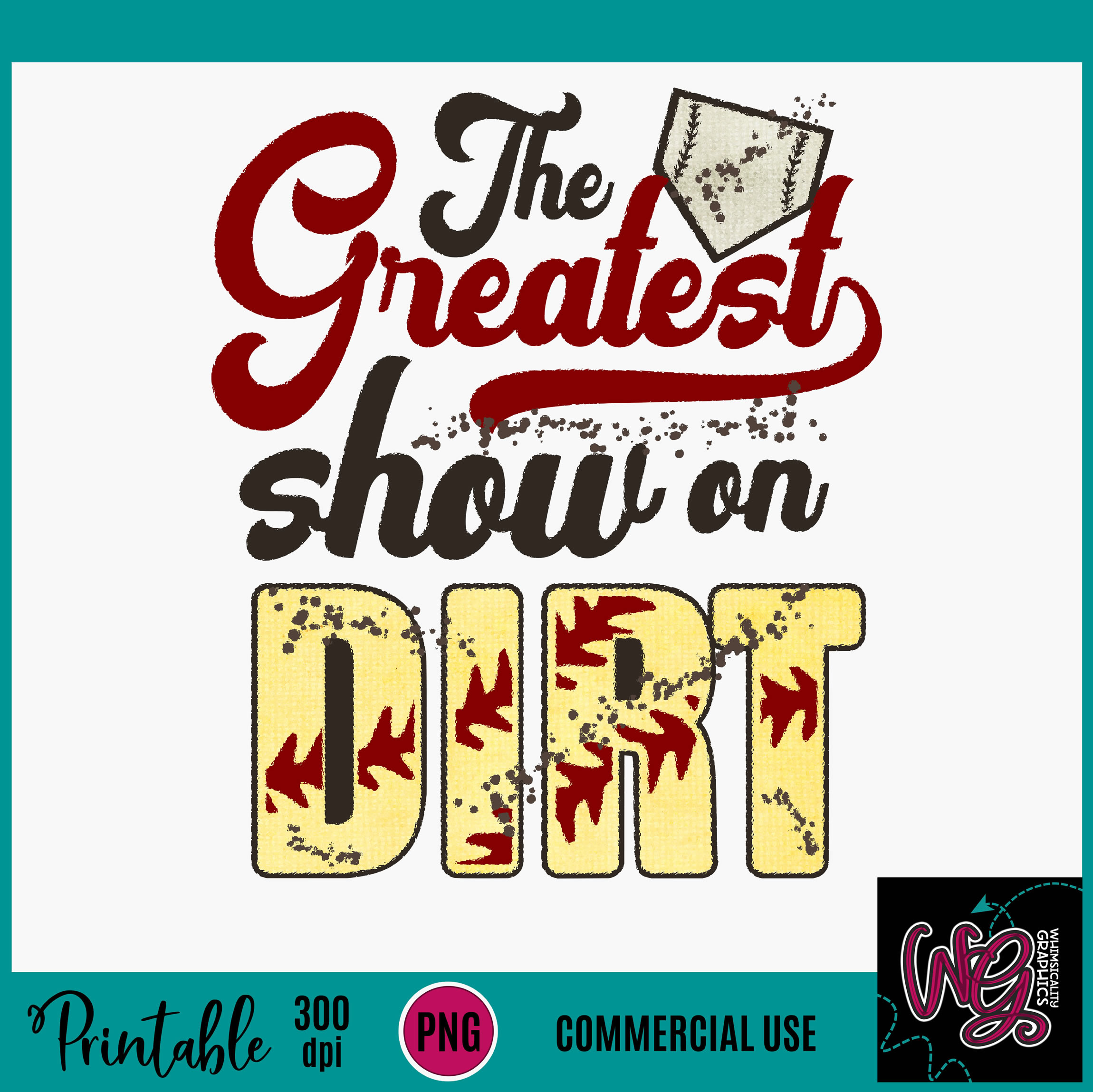 Greatest Show On Dirt Softball Sublimation Printable example image 2