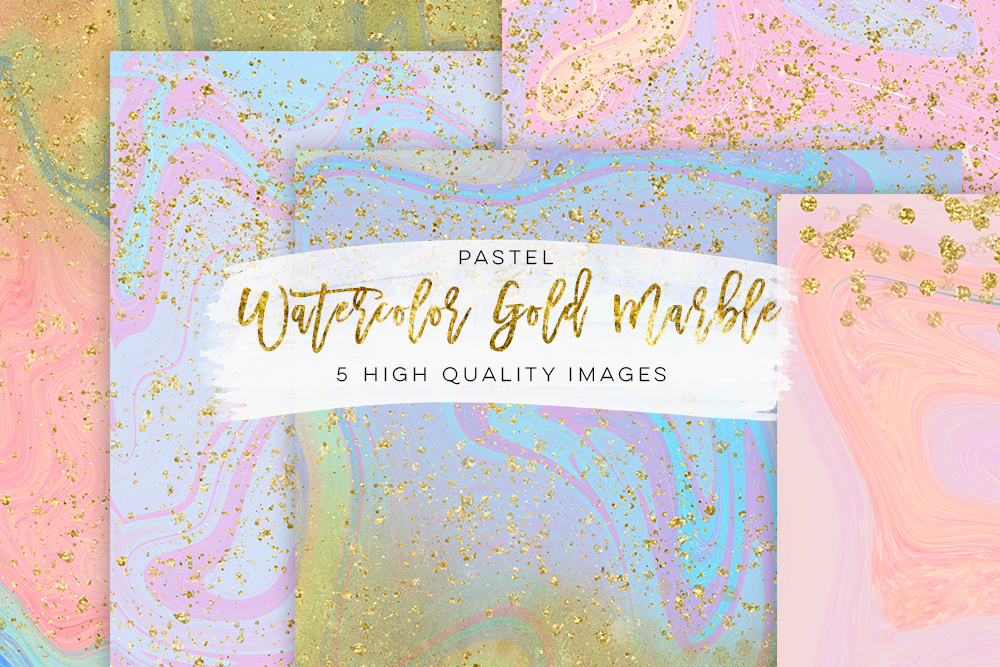 Marble back ground digital paper, watercolor gold marble, marble wall art paper, marble baby blue, marble colorful texture, Rose Gold Pink example image 1