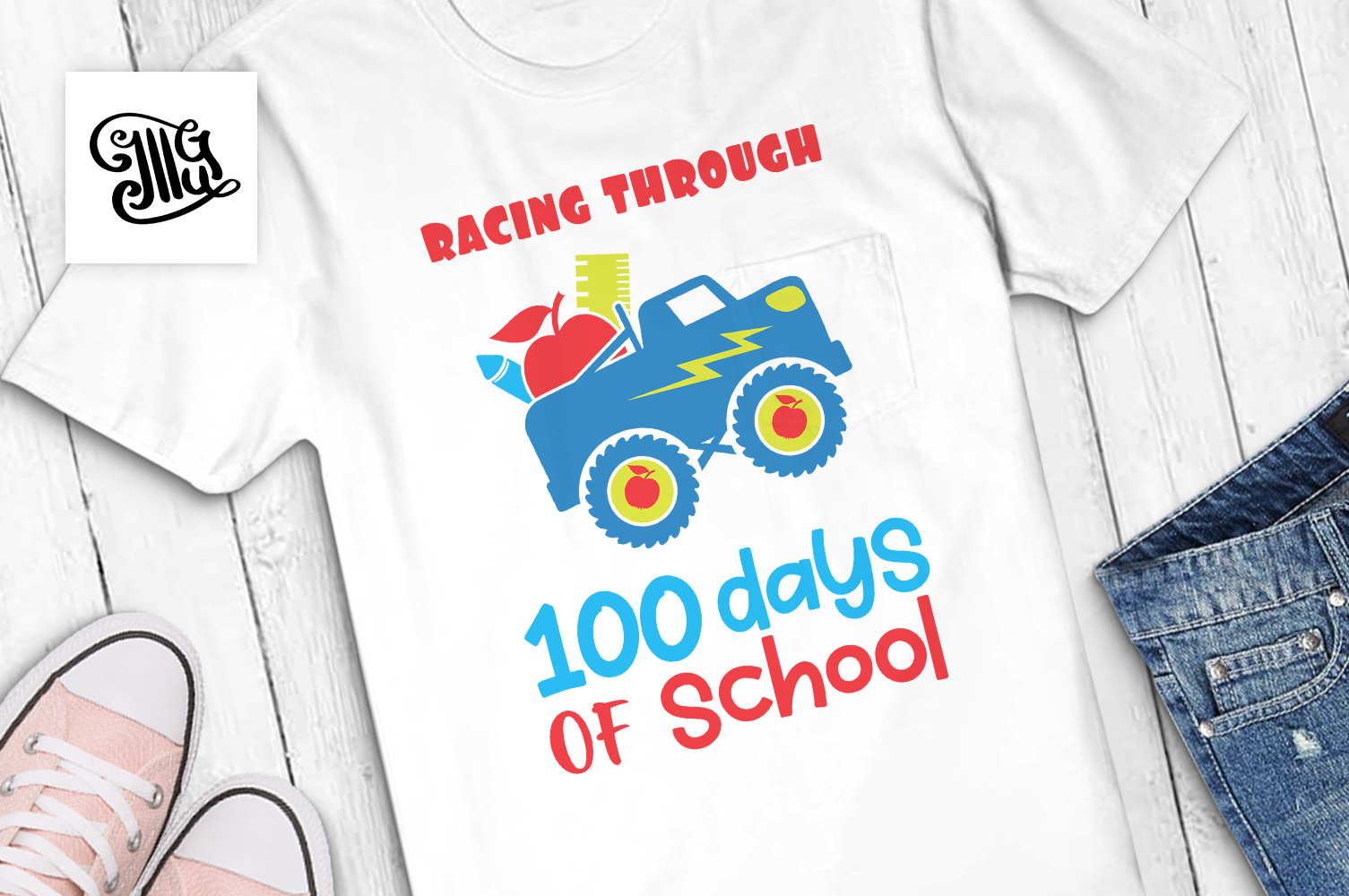 Racing through 100 days of school svg example image 1