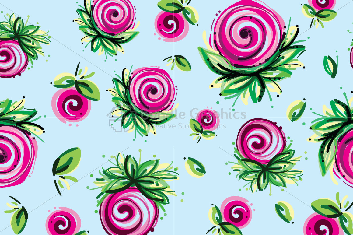 Pink Roses - Floral Seamless Background  example image 2