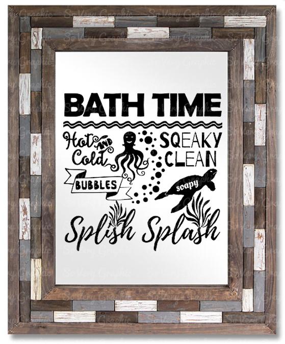 Bath Time Sign | SVG Cut File | PNG Printable | Kids example image 2