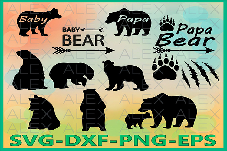 Bear SVG, Bear Silhouette png, eps, svg, dxf, Bear Clipart example image 1