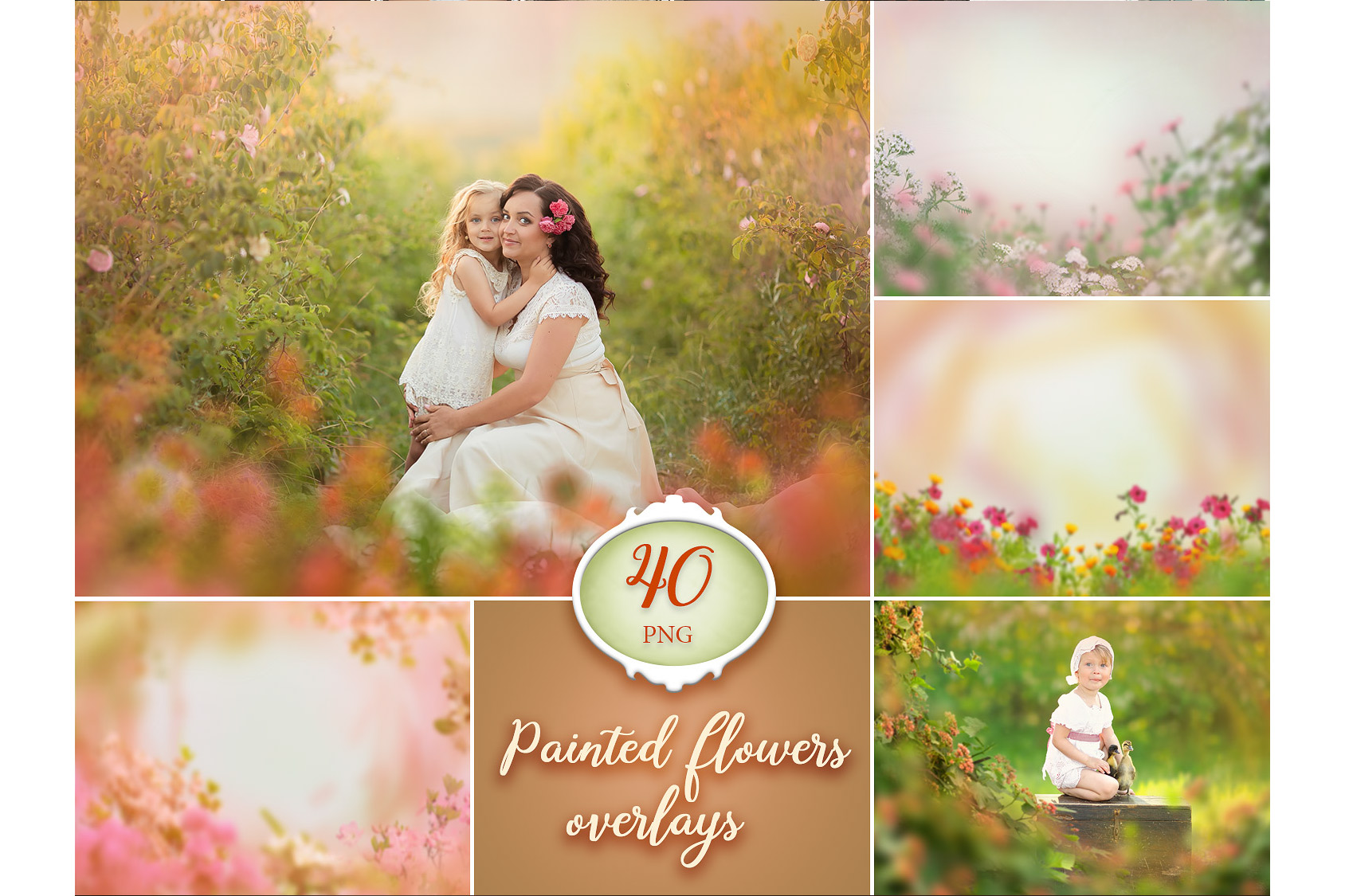 40 Painted Flowers Photo Overlays example image 1
