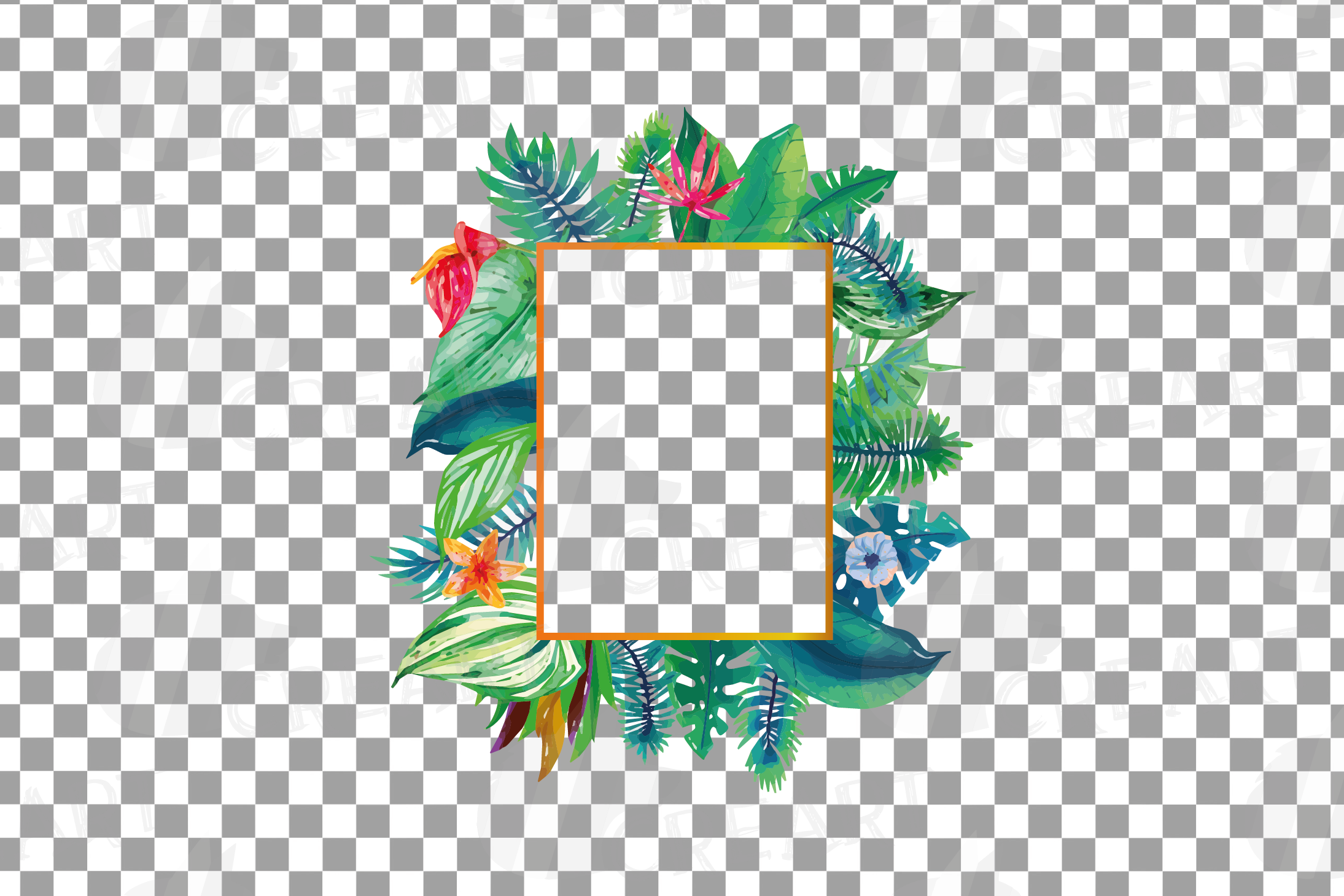 Watercolor tropical navy blue and green exotic floral frames example image 13