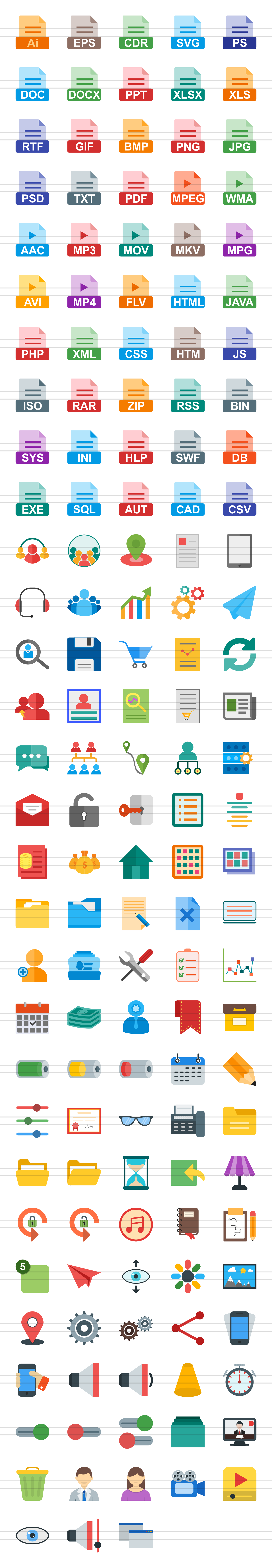148 Files & Folders Flat Icons example image 3