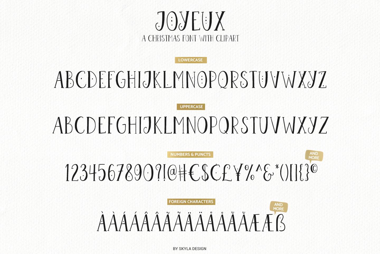 Joyeux Christmas font & Dingbat clipart illustrations example image 8