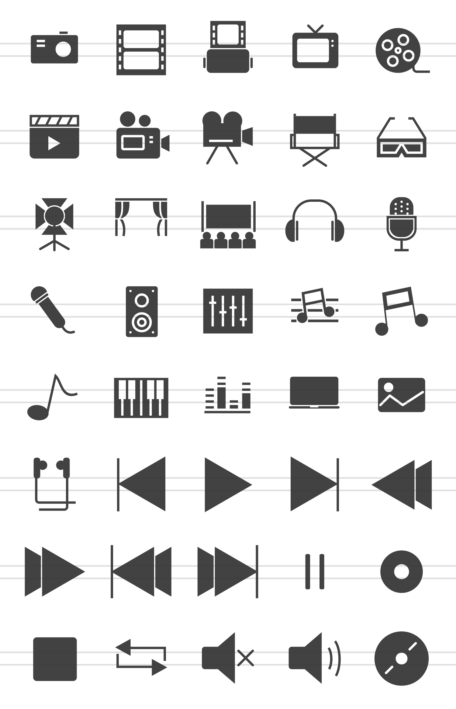 40 Multimedia Glyph Icons example image 2