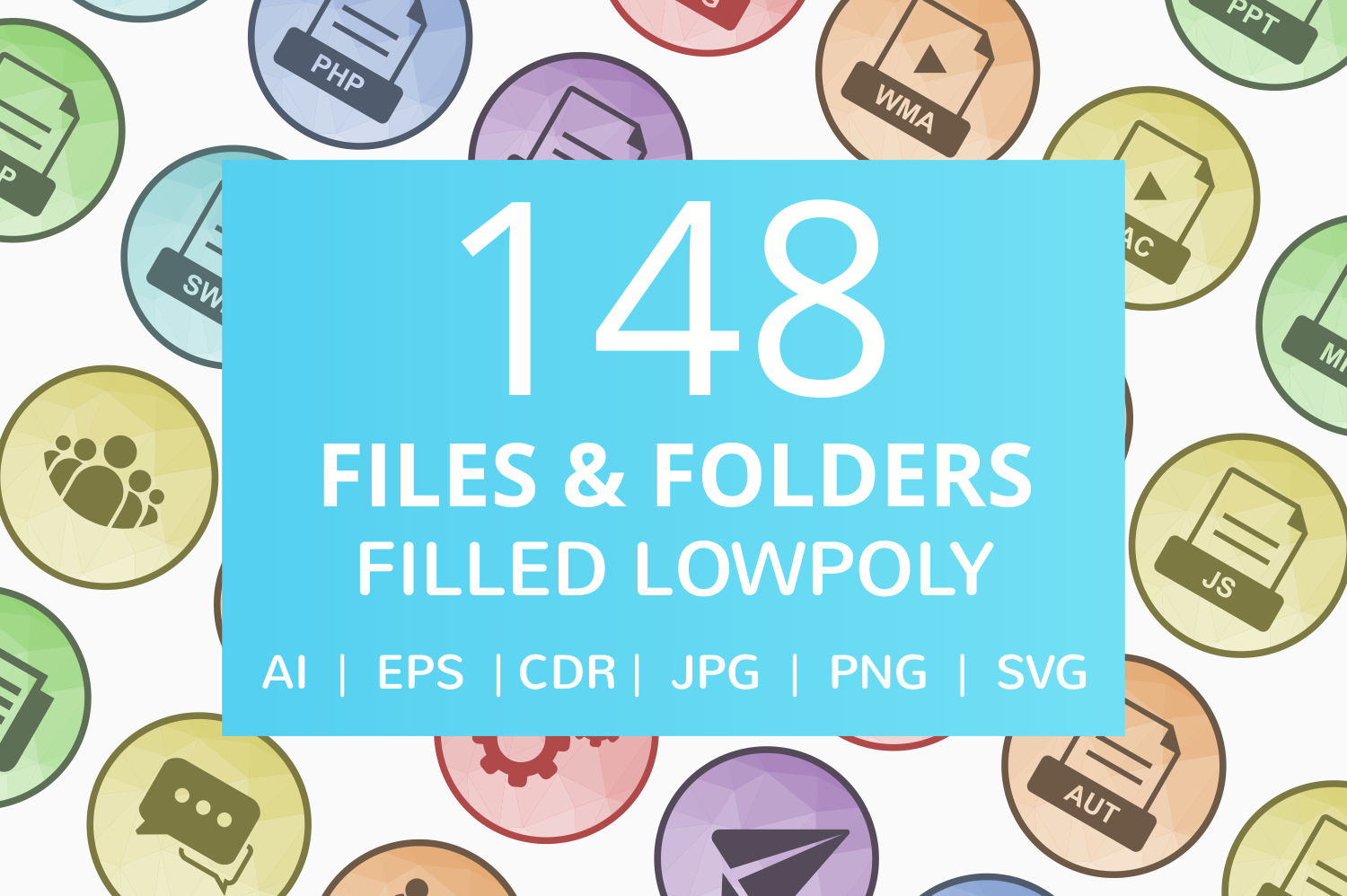 148 Files & Folders Filled Low Poly Icons example image 1