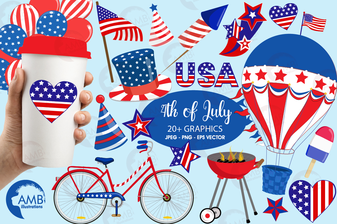 Fourth of July Cliparts, graphics, illustrations AMB-1367 example image 1