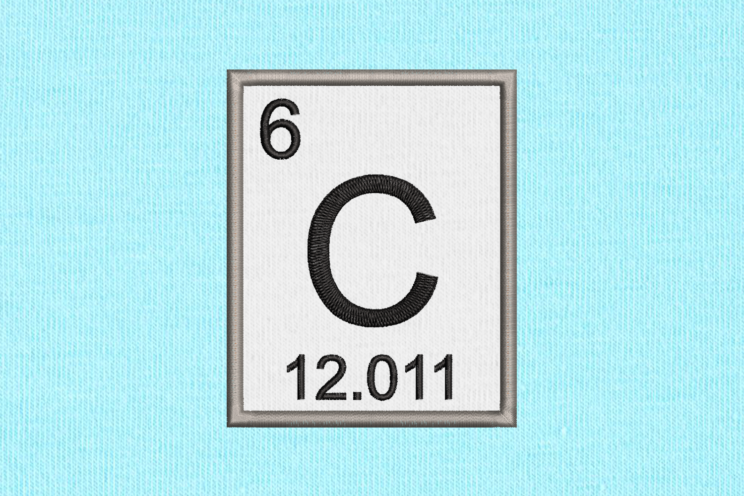 Periodic Table Element 6 C Carbon Applique Embroidery example image 1