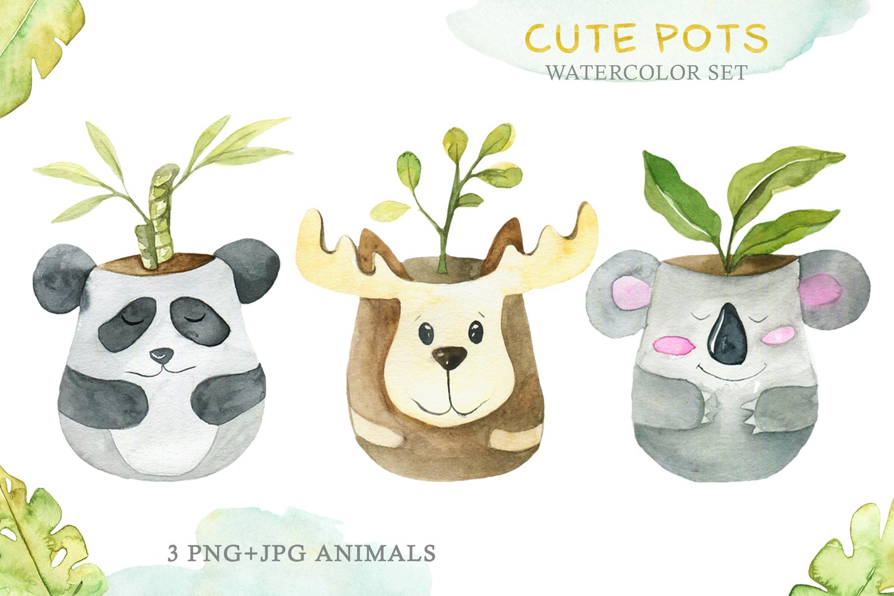 Cute Pots Watercolor Set example image 2