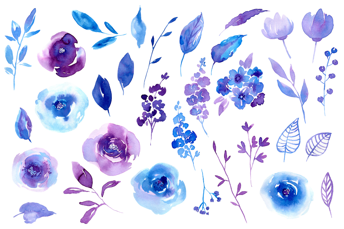 Spring Ultraviolet & Blue Flowers Collection example image 2