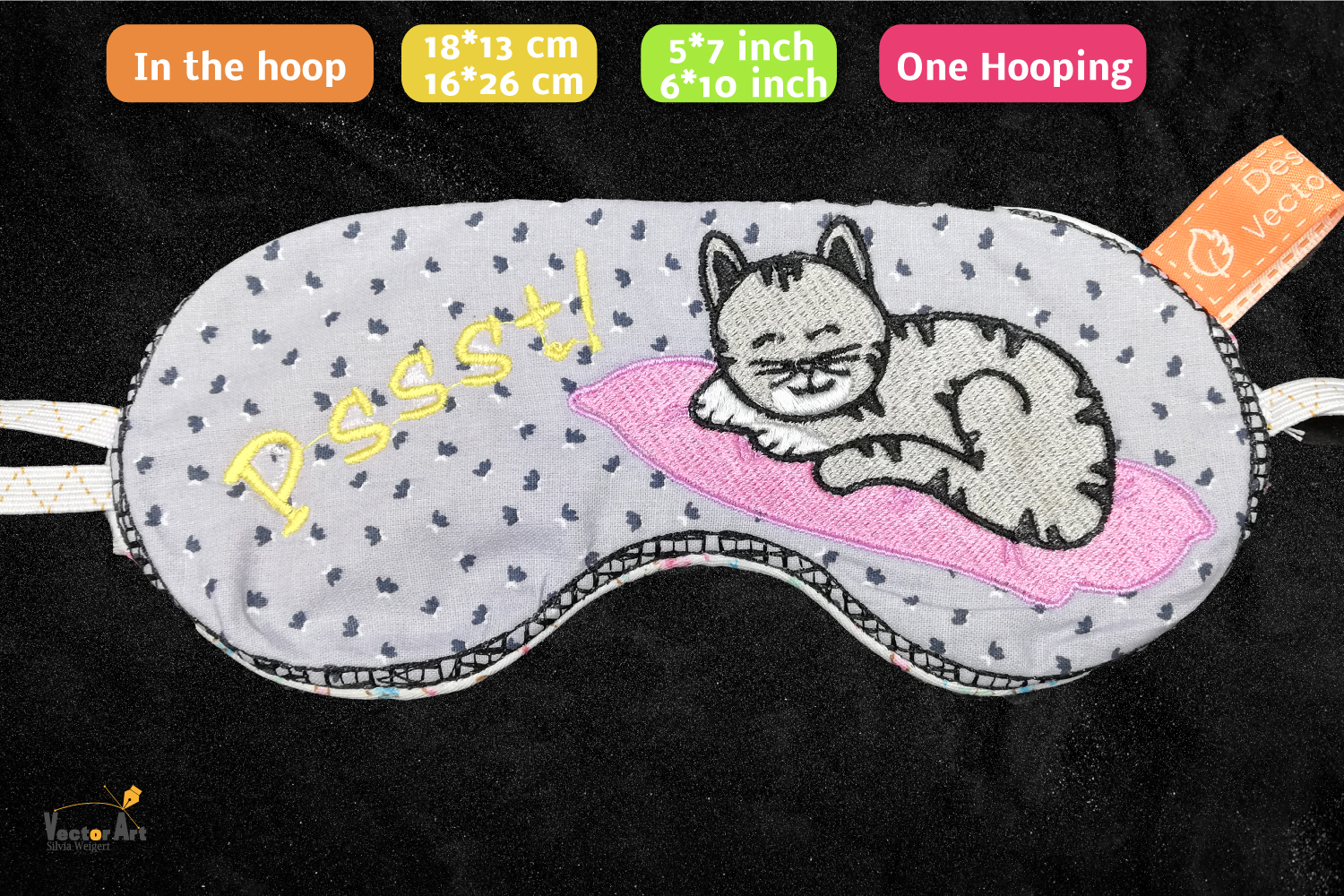 ITH - Sleeping Mask with cute Cat Embroidery - Embroidery example image 3