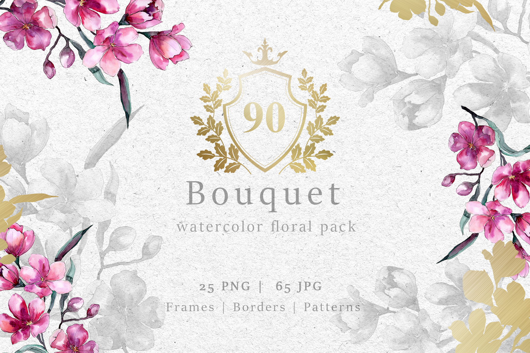 Bouquet of pink flower PNG watercolor pack example image 1