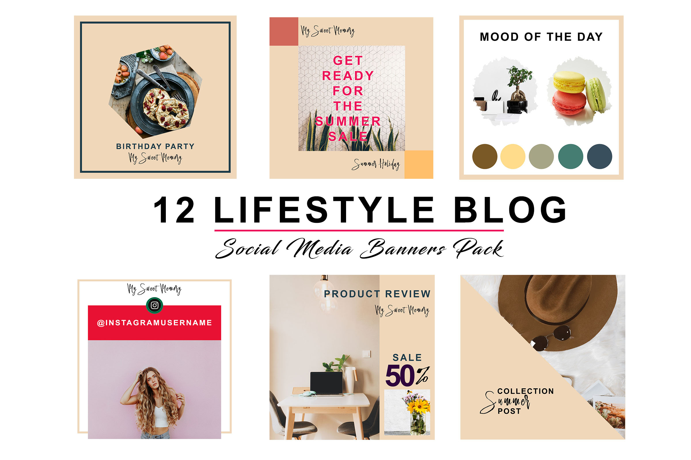 Peach Lifestyle Social Pack example image 4