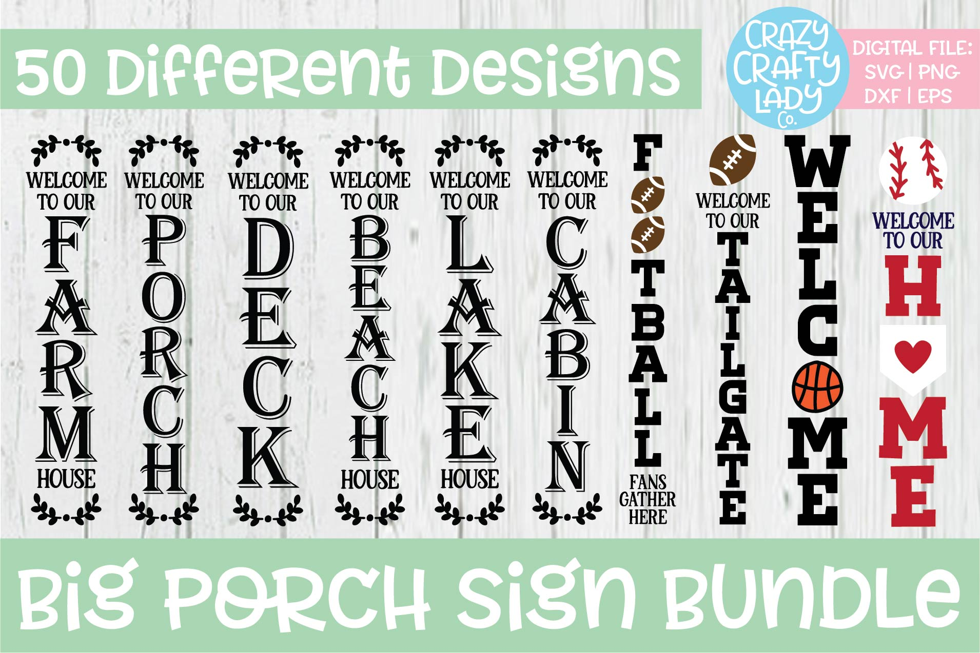 Big Porch Sign SVG DXF EPS PNG Cut File Bundle example image 2