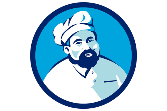 Baker Chef Cook Bearded Circle Retro example image 1