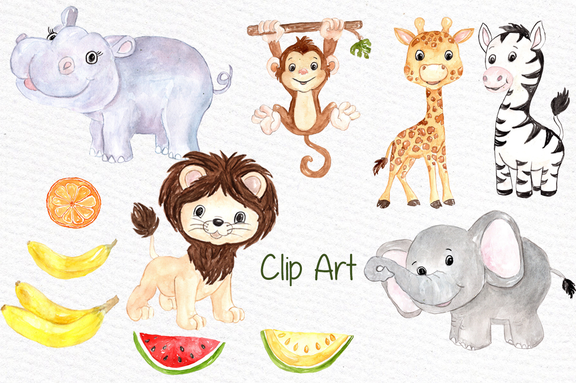 Watercolor Safari animals clipart example image 2