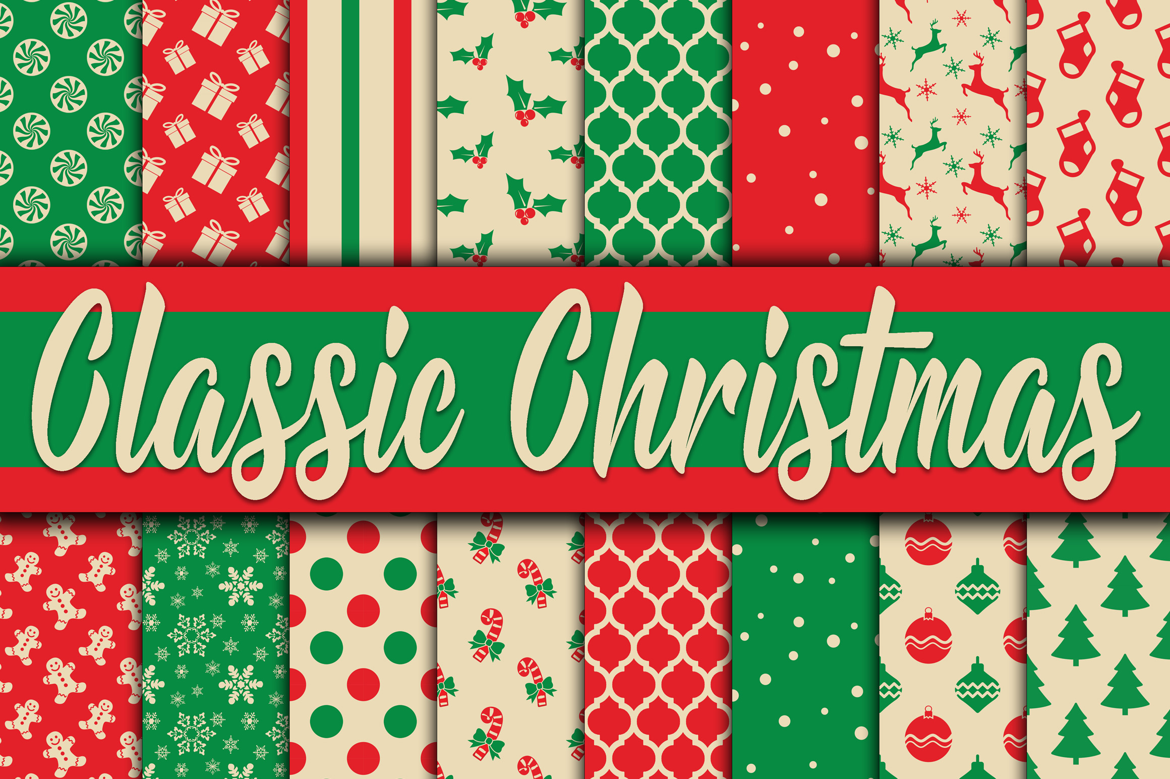 Christmas Bundle - Includes Over 200 Digital Papers example image 11