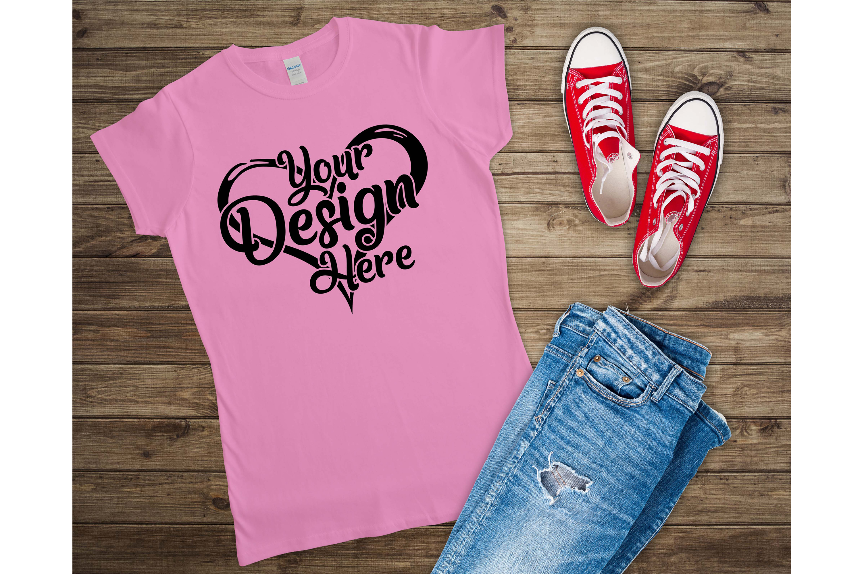 Gildan 64000L Ladies T-Shirt Mockup Bundle Flat Lay example image 2