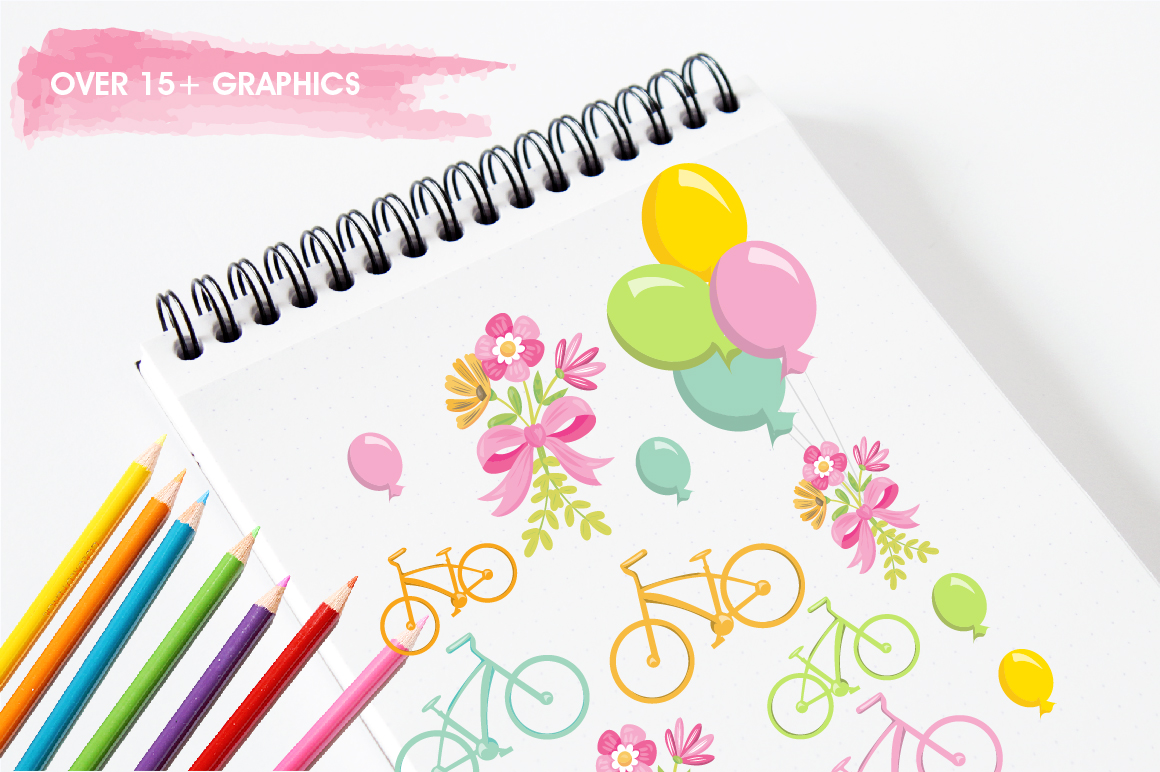 Floral Bicycles graphics and illustrations example image 3