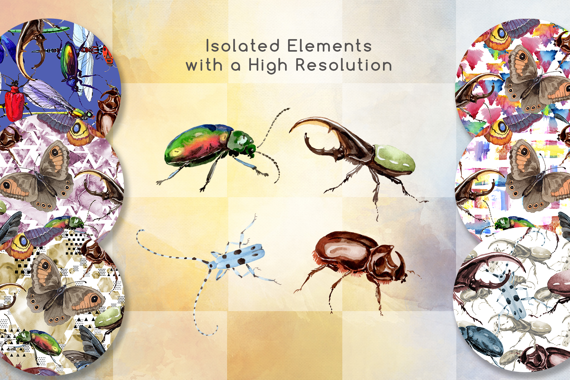 Beetles JPG watercolor set  example image 7