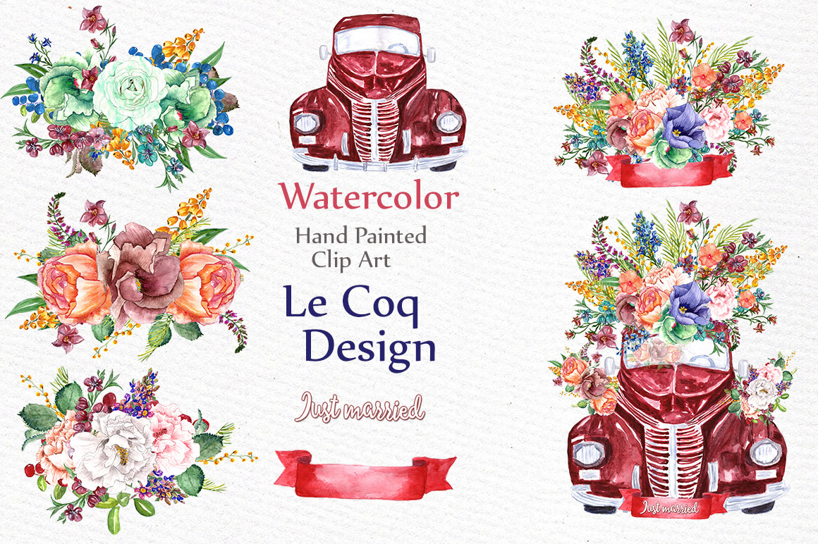 Watercolor floral clip art example image 3