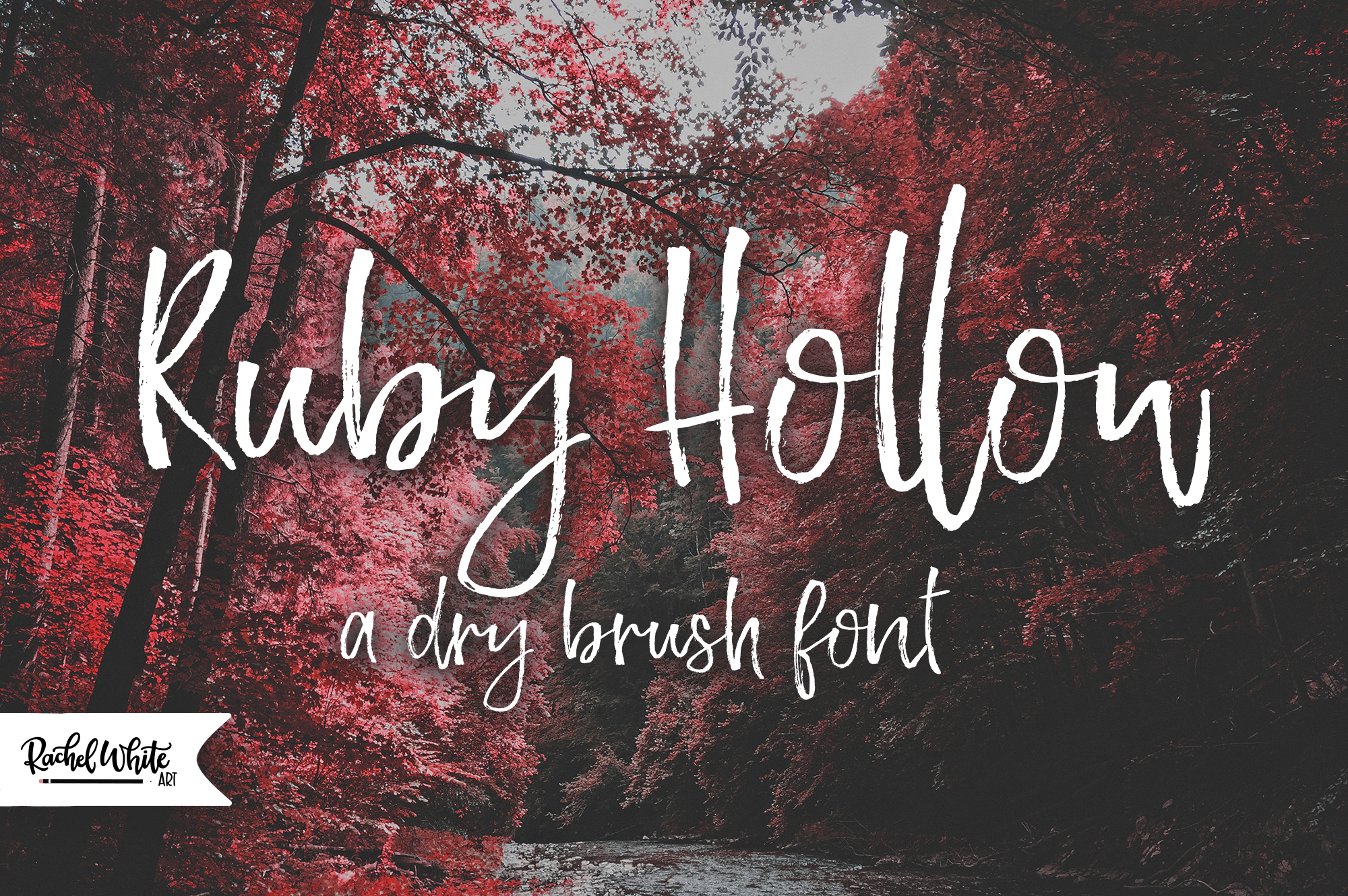 Ruby Hollow, a dry brush font example image 1
