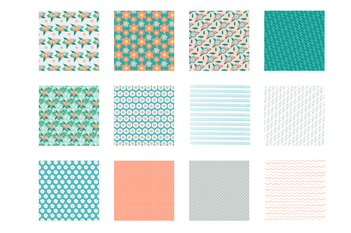 Retro Spring Pattern collection, vector ai, eps and jp example image 2