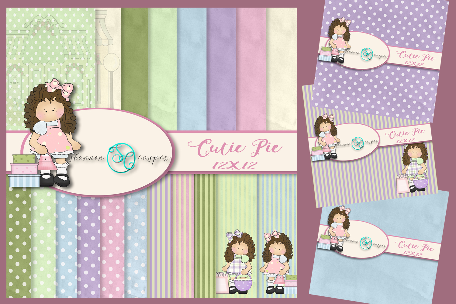 Little Girl ClipArt with Pastel Colors |Digital Paper 12x12 example image 1